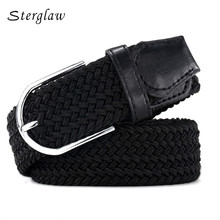 110cm Russia fashion Casual stretch woven belt Women's unisex Canvas elastic belts for women jeans elastique Modeling belt F142(China)
