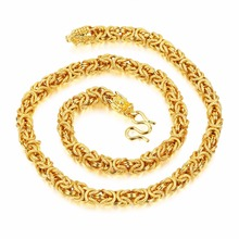 8mm 24 inch  Fashion jewelry Gold Color Handmade Link Chain Necklace dragon Clasp Heavy 113g weight  for Men's Gifts