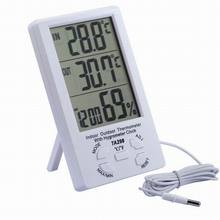 New Indoor Outdoor LCD Digital Solar Temperature Meter Humidity Thermometer Time Clock with Outdoor Temperature Sensor