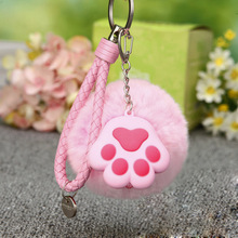 5color 8CM Small Cute Cat's paw Soft pendant plush toy Phone Decoration Straps Key Chain Bag Charms plush animal gift for girls