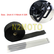 10 Meters Black Fiberglass Exhaust Muffler Pipe Warp Thermal Insulating Warp 2 Inch 32ft Header Heat Wrap tape