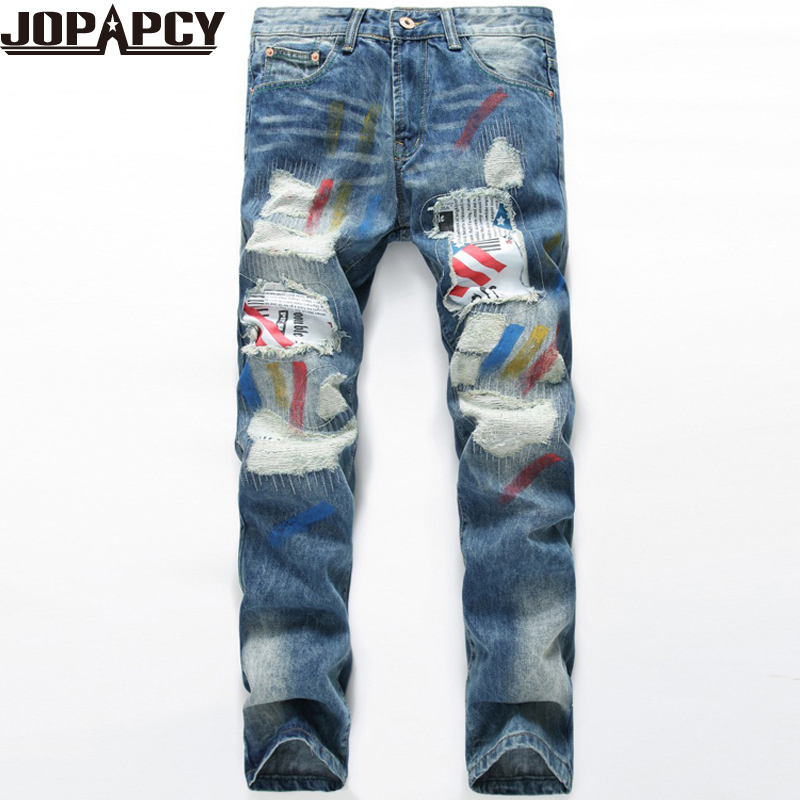 2017 Autumn Fashion Printed Jeans Men Zipper Skinny Jogger Mens Biker Jeans High Quality Hip Hop Denim Pants MYA0465Одежда и ак�е��уары<br><br><br>Aliexpress