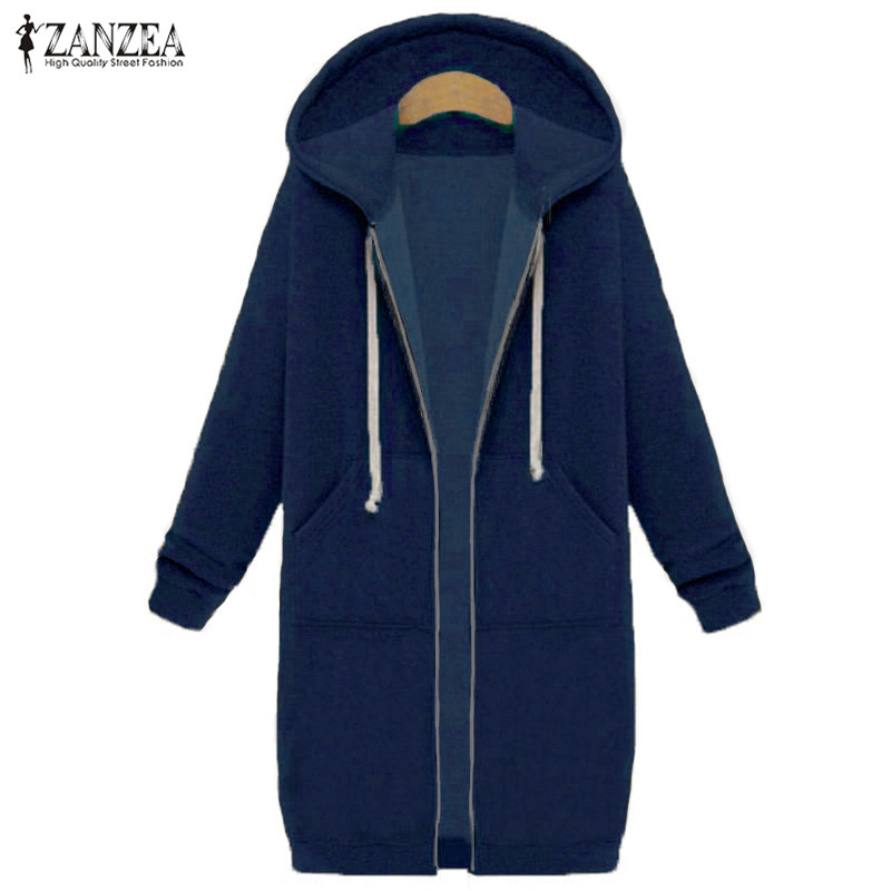 Oversized 2017 Autumn Women's Casual Long Hoodies Sweatshirt, Coat, Pockets, Zip Up, Outerwear Hooded Jacket 19