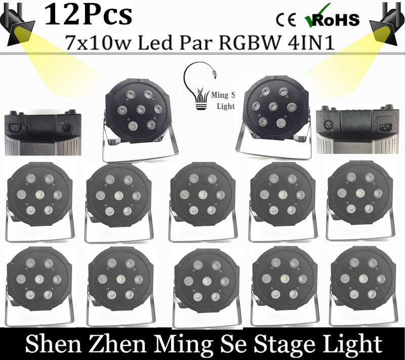 12pcs/lots 7pcs 10w lamp beads 7x10W led Par lights RGBW 4in1 flat par led dmx512 disco lights professional stage dj equipment<br>