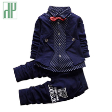 Baby boy clothes spring 2016 formal kids clothes suit 2Pcs boys set baby born gentleman toddler boy clothes birthday dress(China)