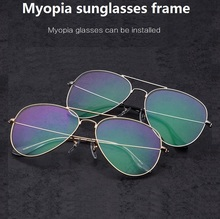 58-14-140 Retro frame toad titanium metal full frame men and women general aviator myopia sunglasses frame 3025 eyeglasses(China)