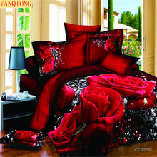 YANQIONG 100% cotton 3d series bedding set queen size rose pattern design include pillowcase duvet cover bed sheet