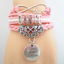 Infinity Love DANCE Bracelet for girls pink white Customize Sports wristband friendship gifts