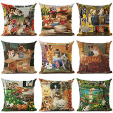 Cute Lovely Cat Printed Cotton Linen Pillowcase Decorative Cushion Pillows Use For Home Sofa Car Office Almofadas Cojines(China)