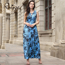 2017 New Fashion Women Vintage Dress Summer Round Neck Casual Maxi Dress Elegant Sleeveless Floral Print Dress