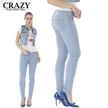 Crazy Plus Size Mall 2017 Summer Plus Size High Waist Skinny Jeans For Women Pencil Pants 6XL 5XL Denim Femme Stretch Jeans