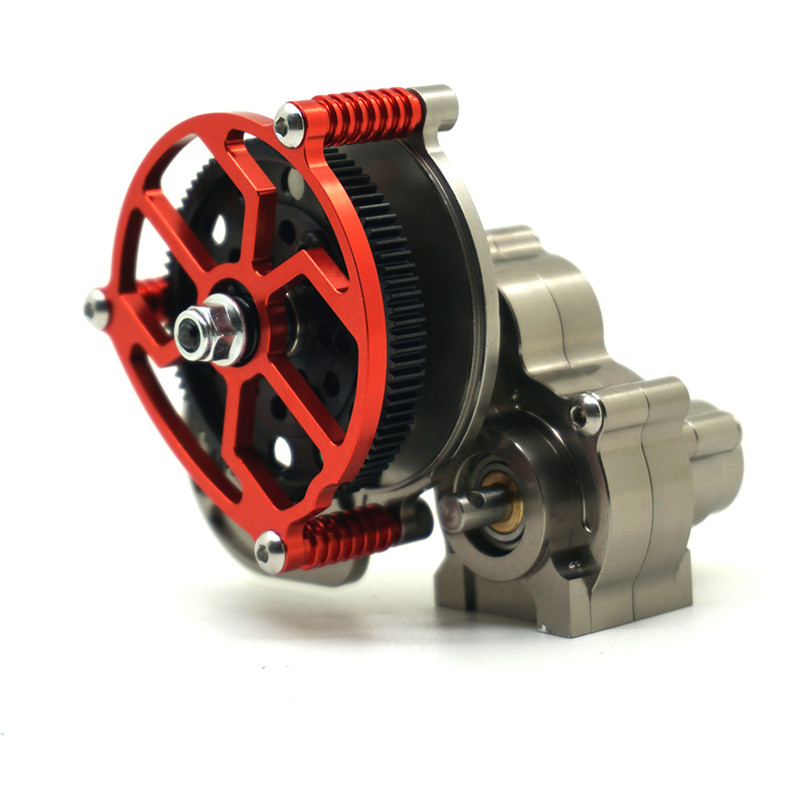 1PC  1/10 RC Crawler SCX10 All Metal Transmission / Center Gearbox for 1/10 Axial SCX10 Gear Box Reverse Parts Titanium Red <br>