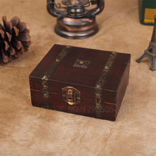 13*12*5.4CM Retro Antique Decorative Gift Box double belt Wood Storage Box Wooden Jewelry Storage Organizer Copper Nails Old Box