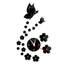 Lovely Butterfly and Clock Design Mirror Wall Stickers Home Bedroom Office Decor Removable Decals Wall Sticker