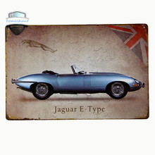 """Jaguar E Type"" Vintage Metal Tin Signs Retro Tin Plate Sign Wall Decoration for Cafe Bar Shop and Restaurant Custom Neon Sign"