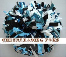 "cheerleading Pom poms 3/4""x 6""~custom color metallic white and metallic light blue handmade new hot sale custom made(China)"