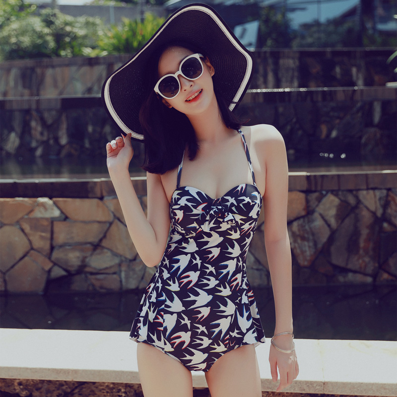Beach Sports Swimsuit Woman One-piece Swimsuit Halter Sexy Hanging Neck Hot Spring Swimsuit Vacation NEW<br>