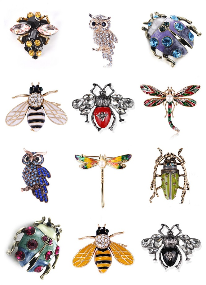 Enamel Insect Rhinestone Brooches Ladybug Owl Dragonfly Bee Vintage Animal Jewelry Accessories Brooch