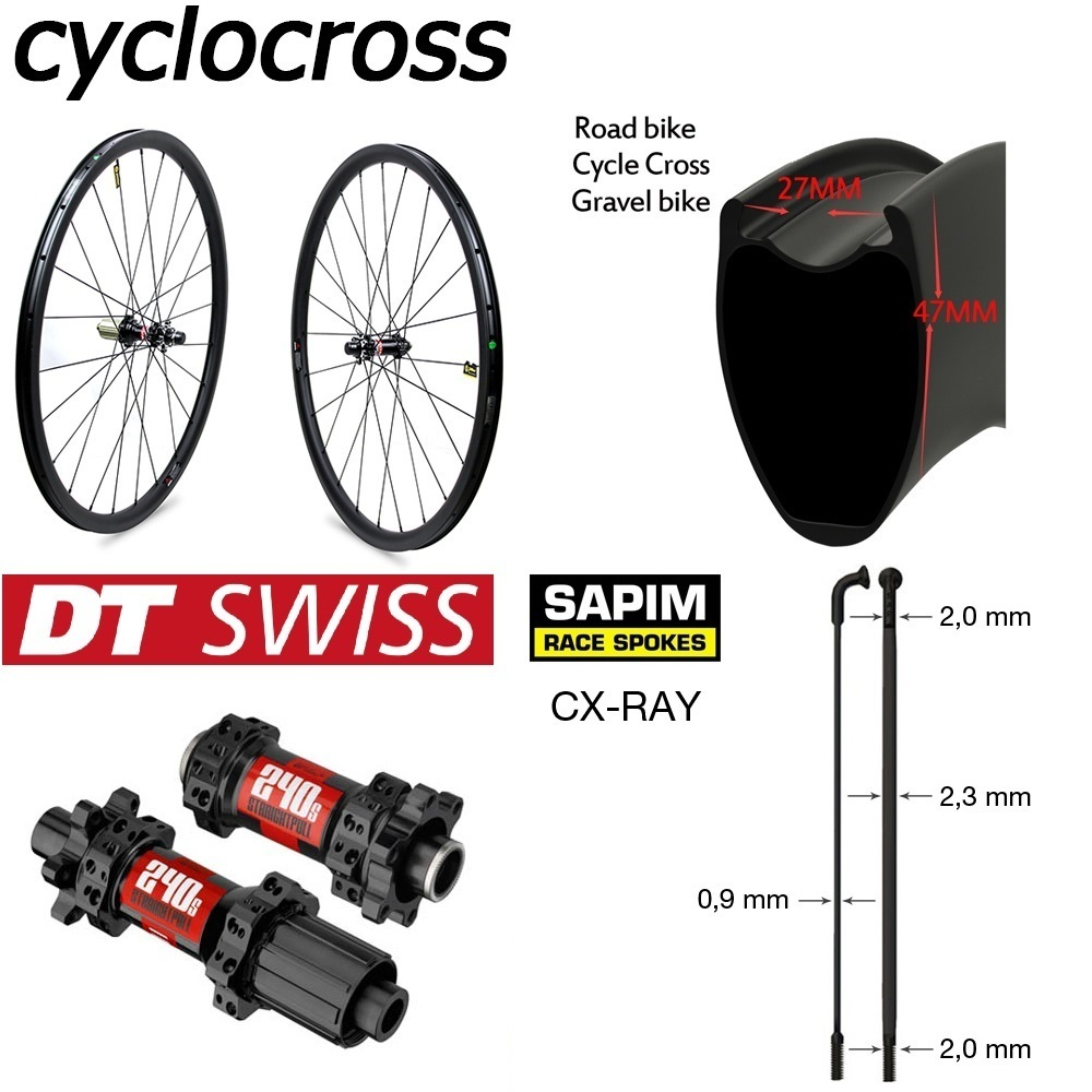 DT Swiss 240 Disc Brake 700c Carbon Wheel Cyclocross Gravel Bike Wheelset Clincher Tubular Tubeless Rim Sapim Spoke