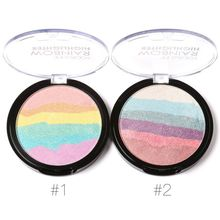 DIY Pro Rainbow High lighter Powder Palette Bronzer Contour Soft Mineral Face Highlighter Makeup Palette Kit
