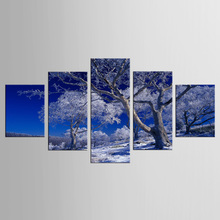 5 Panel  Wall Art Blue Sky Snowy Mountain Canvas Prints The Paintings On The Wall Landscape Paintings Home Decoration
