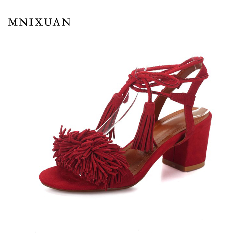Real leather sandals women 2017 new summer block heels high quality lace up fringe tassels female shoes black red big size 41-43<br>