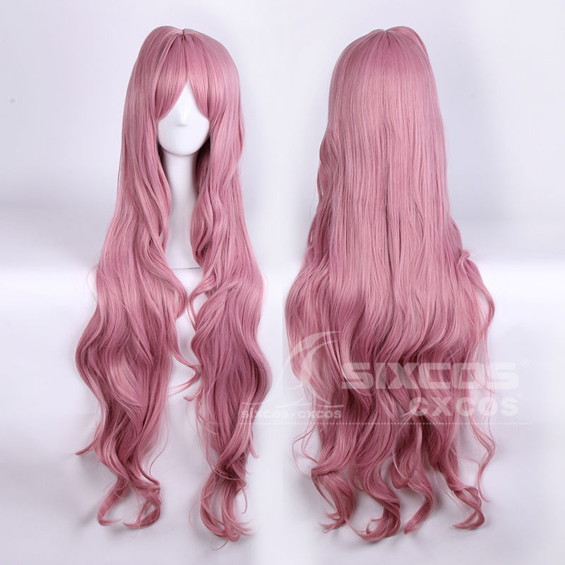 Full Lace Cosplay Natural Wigs 100cm Pink Long Curly Deep Wavy Hair +1or2 Ponytails ICHU-Popn star/KKR High Temperature Fiber<br><br>Aliexpress