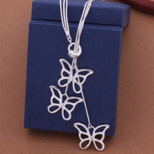 Fashion Elegant Ladies Necklace 925 Butterfly Pendant Long Necklace Mulit Chain Silver Plated Jewelry Loving Gift AN444
