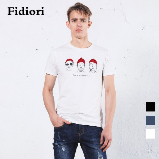 Fidiori 2017 new men's cotton casual T-shirts,Round neck print fashion Slim comfortable top tees.