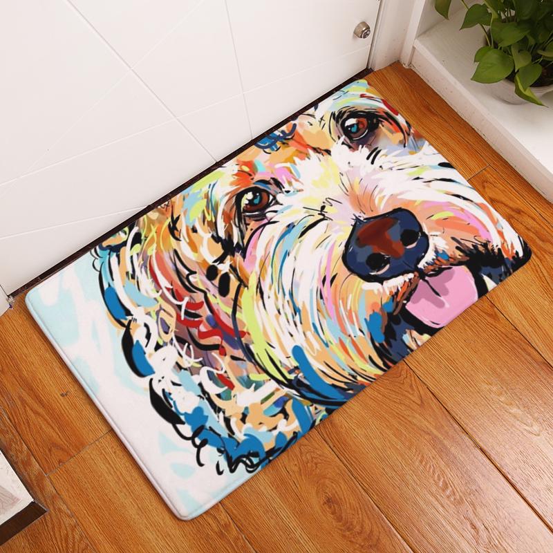 Flannel Floor Mats Dog Printed Bedroom Living Room Carpets Cartoon Pattern  Mat For Hallway Anti Slip Tapete   Us139