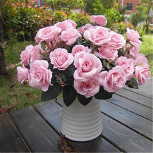 Hot sale 1 pc Pink 12Heads Artificial Rose Silk Home Wedding Bridal Bouquet Decoration Flowers