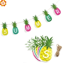 1Set DIY Summer Pineapple Garland Fruit Bunting Banners Paper Garlands Tropical Pool Party/Birthday/Wedding Party Decoration