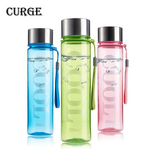 CURGE Brief Style Non-toxic 350ml 600ml Colorful Plastic Water Bottle 300ml 600ml Green Blue Pink #1106