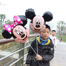 new arrive 20pcs/lot minnie & mickey mouse foil balloons with stick and cup for mickey birthday party decoration mylar ballons