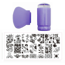 BC Nail Art Templates Set Stencils 12x6cm For Painting Butterfly Lace Nail Stamping Polish Steel Plate 2.7cm Purple Stamp+ Knife(China)