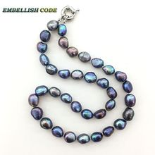 selling well good quality pearls baroque Irregular real natural freshwater pearl necklace Peacock green Colourful for girl women(China)