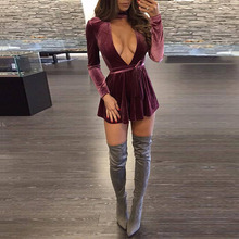 2017 Winter Woman Dress A Line Deep V-Neck Long Sleeve Dresses Casual Chic Style Cute Velvet Dresses For Women Christmas Wear