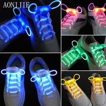 AONIJIE 1 Pair Light Up Hot LED Luminous Shoelaces Flash Party Glowing Shoe Strings Lazy Style 4 Color For Boy&Girl Teenager
