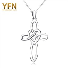 YFN Brand 925 Sterling Silver Necklace Cross Love Bijoux Collares Collier Femme Pendants Necklaces Fashion Jewelry For Women