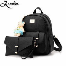 2017 New Brand Women's Casual Leather School Bag Backpack Set Fasion Designed Laptop for Teenage Girls 2Pcs