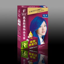 plant amino acids 30ml*2 permanent Blue hair color dye cream natural hair dye cream fashion hair dye cream