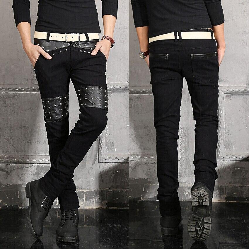 Men Fashion Jeans Cotton PU Leather Patchwork Scratched Zipper Denim Mens Biker Jeans Rivet Punk style BlackОдежда и ак�е��уары<br><br><br>Aliexpress