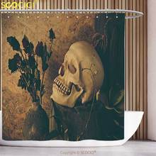 Waterproof Shower Curtain Gothic Decor Collection Human Skull with Dead Dried Roses in the Vase Grunge Style Bourgeois Life