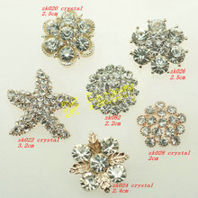 flat back alloy crystal button for ribbn flower, flat back rhinestone embellishment for ribbon bow accessories (MOQ:20/lot