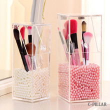 Thicker Version! New Brush Cosmetic Organizer Clear Acrylic Makeup Organizer Clamshell Acrylic Brush Holder No Pearls