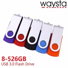Waysta 128gb High speed USB 3.0 flash drive 8gb 16gb 32gb 64gb Pendrive 256gb Flash memory with Retail box(China)