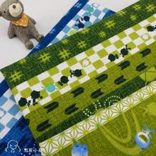 100x110cm Blue/Green Frog Cotton Slub Fabric Japanese Patchwork Material Handmade Cloth for Baby Dressmaking Door Curtain DIY(China)
