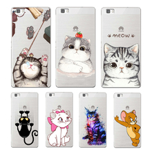 Super cute cartoon cat soft TPU cover for huawei P8 P9 Lite NOVA MATE 8 9 honor 8 case for huawei p8 lite 2017 phone capa