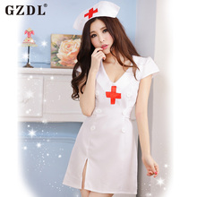 Buy GZDL Adult Sexy Lingerie White Nurse Uniform Women Costume Temptation Erotic Nurse Role Playing Suit Cosplay Fancy Dress SY4168