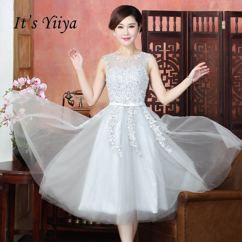 It's YiiYa Lace Many Color Illusion Flowers Beading A-line Tea Length Cocktail Dresses Sleeveless Appliques Dress LX073
